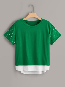 Plus Contrast Panel Beaded Tee