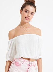 Cotton Mini Sport Bardot Blouse