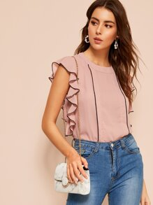 Butterfly Sleeve Piped Trim Blouse