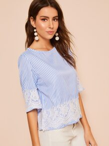 Contrast Lace Striped Blouse