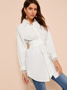 Curved Hem Contrast Lace Cuff Belted Shirt