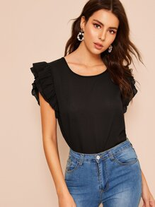 Exaggerated Ruffle Sleeve Blouse