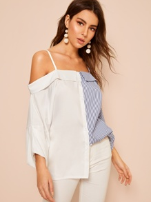 Contrast Striped Print Cold Shoulder Shirt