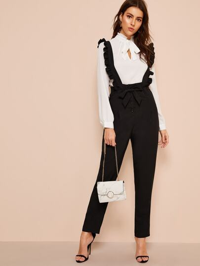 Belted Button Fly Pants With Ruffle Straps