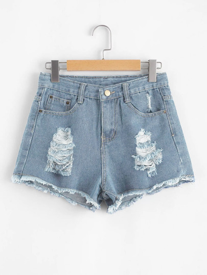 Shorts in denim strappati con orlo grezzo