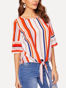 Striped Knot Hem Blouse