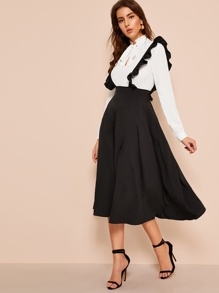 Zip-back Flared Skirt With Ruffle Straps