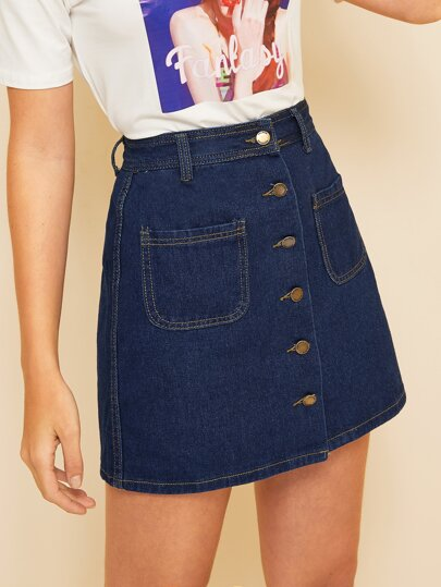b6d64d52c0 Stitch Detail Trim Button Front Denim Skirt