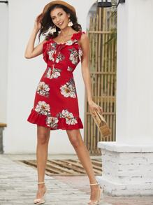 Ruffle Knot Floral Print Dress
