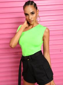 Neon Lime Asymmetrical Neck Tee