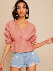 Button Front Ruched Sleeve Blouse