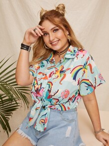 Plus Unicorn Print Blouse