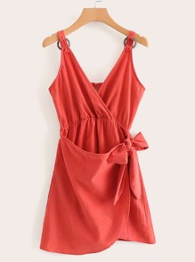 Tie Side Solid Cami Dress