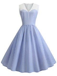 50s Plaid Circle Dress