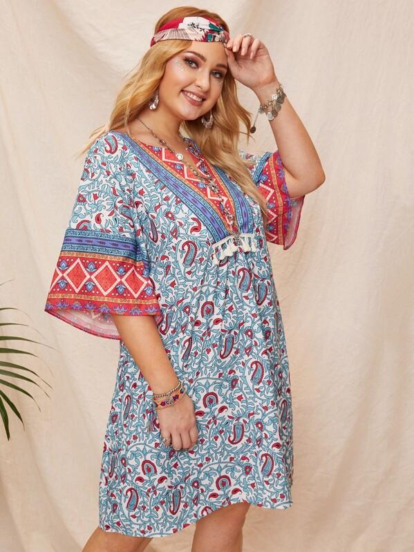f9f347d7be3 Plus Tribal Print Fringe Detail Dress