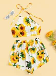 Sunflower Print Crop Halter Top With Shorts