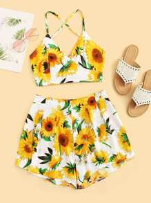 Sunflower Print Knot Back Cami Top And Shorts