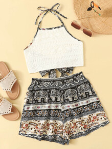 Contrast Lace Knot Back Halter Top With Shorts