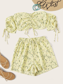 Calico Print Drawstring Detail Crop Top With Shorts