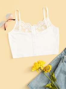 Contrast Lace Crop Cami Top