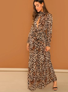 Plunge Neck Shirred Trim Maxi Leopard Dress