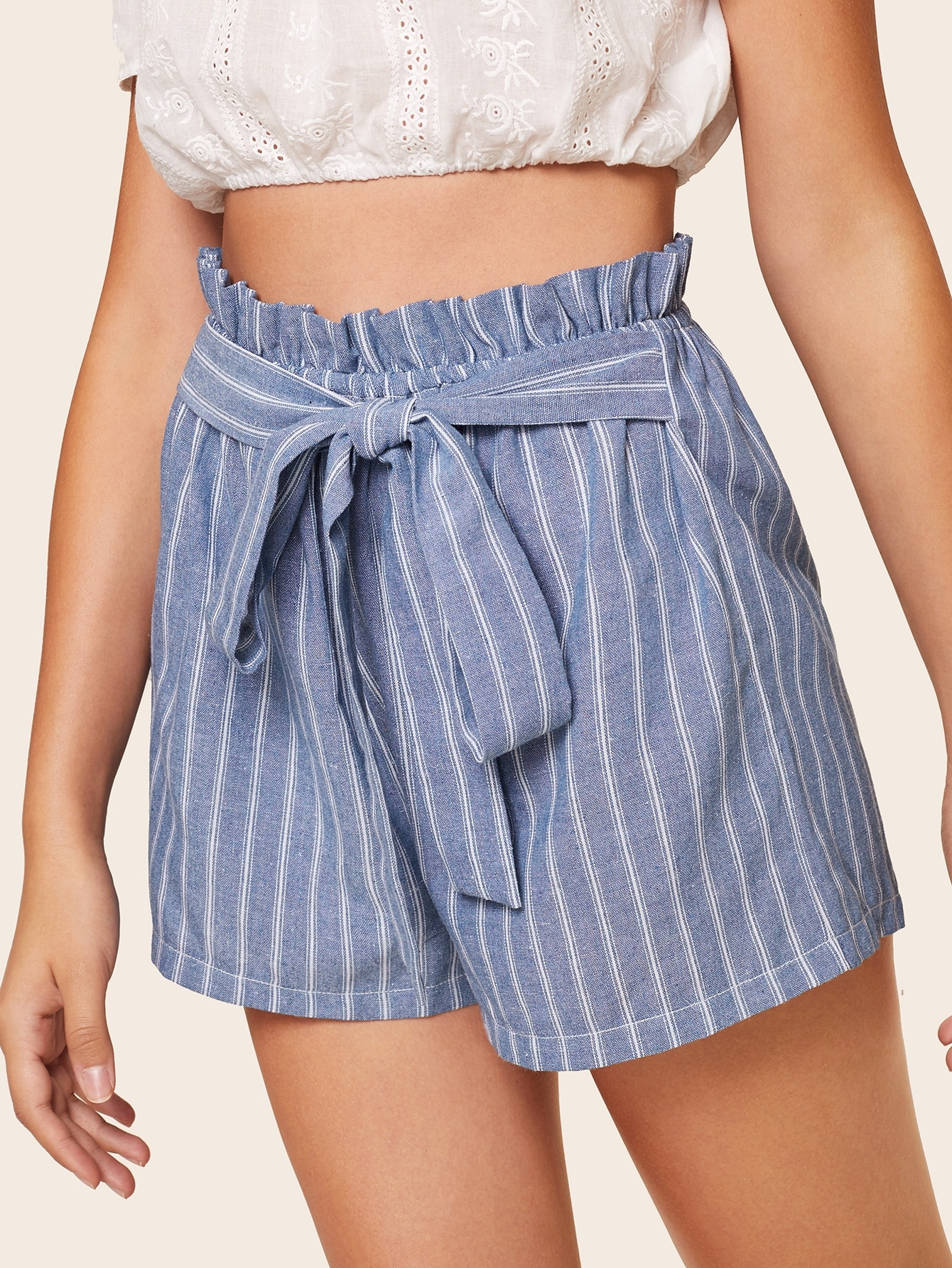 Striped Tie Front Paperbag Shorts by Romwe
