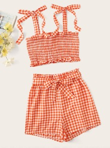 Gingham Shirred Cami Top With Belted Shorts
