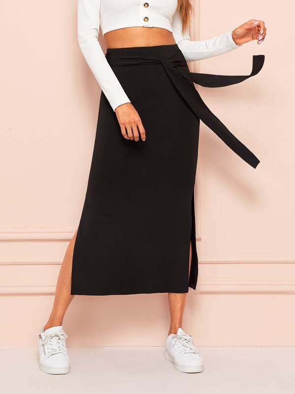 521c454396 Tie Waist Split Side Solid Skirt | SHEIN