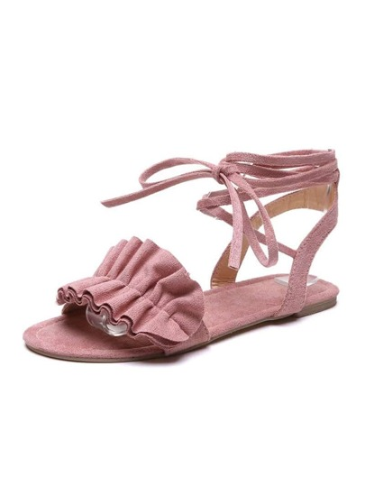 Ruffle Decor Lace-up Sandals