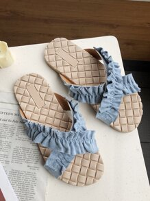 Ruffle Decor Criss Cross Sliders