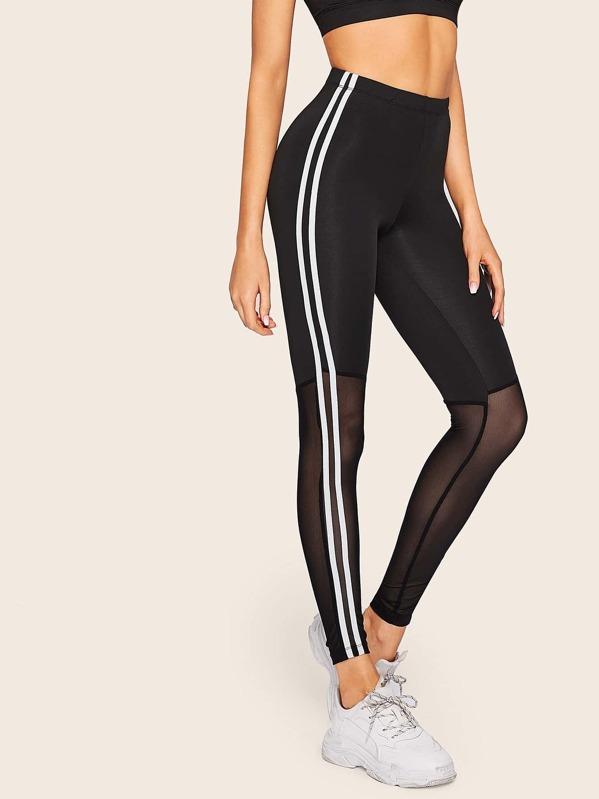 37c19cfa01d1 Side Striped Tape Sheer Mesh Leggings | SHEIN