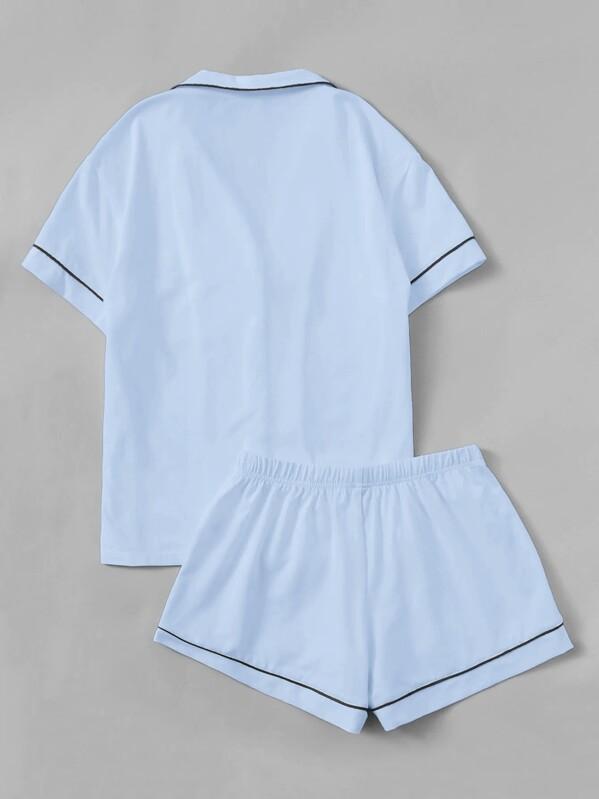 5c282d5f86 Contrast Piping Pocket Front Shirt & Shorts PJ Set | SHEIN
