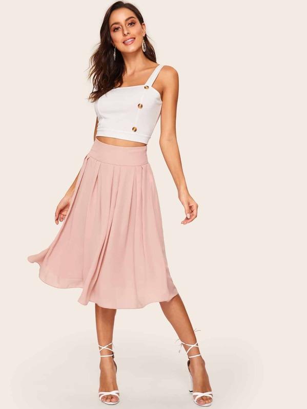 8b59fcfe0a Wide Waistband Box Pleated Skirt   SHEIN