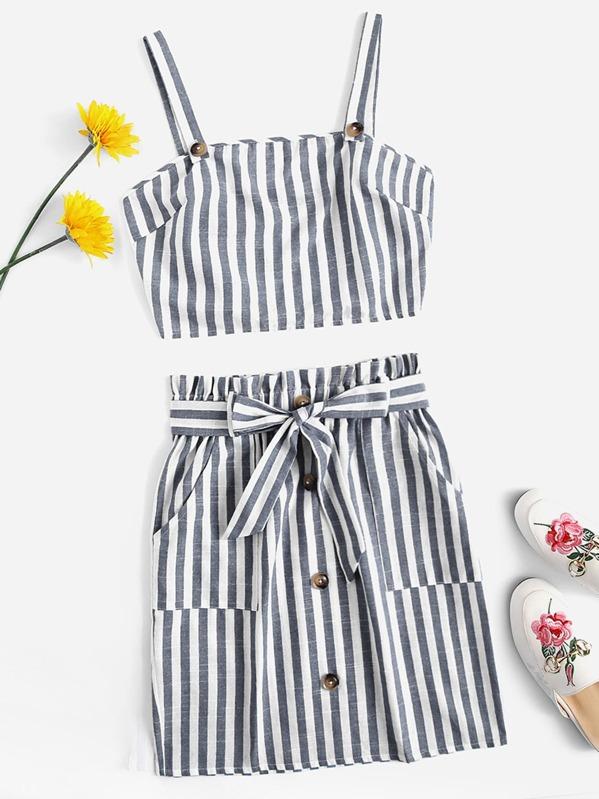 6aa31f323465c Striped Tank Top & Buttoned Paperbag Waist Skirt Set | SHEIN
