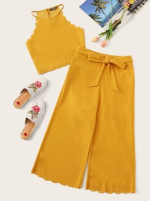 Scallop Trim Tank Top & Belted Wide Leg Pants Set