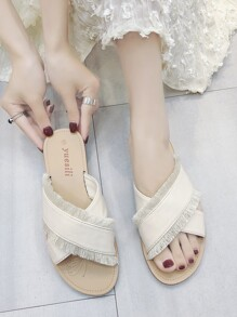 Fringe Trim Cross Strap Sliders