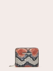 Snakeskin Print Zipper Purse