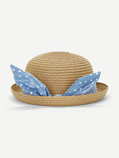 4c86f416e2eb4 قبعة بولر مزخرف بشريط منقط للاطفال