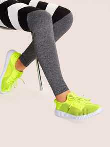 Lace-up Front Mesh Neon Trainers