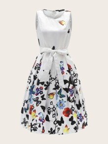 60s Zip Back Floral & Butterfly Belted Dress