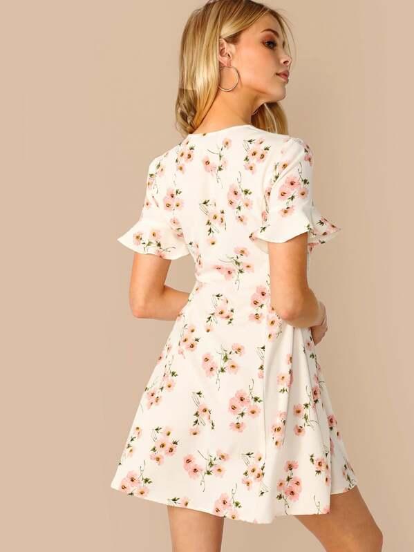86c90f3a9b Ruffle Sleeve Button Up Floral Print Dress | SHEIN