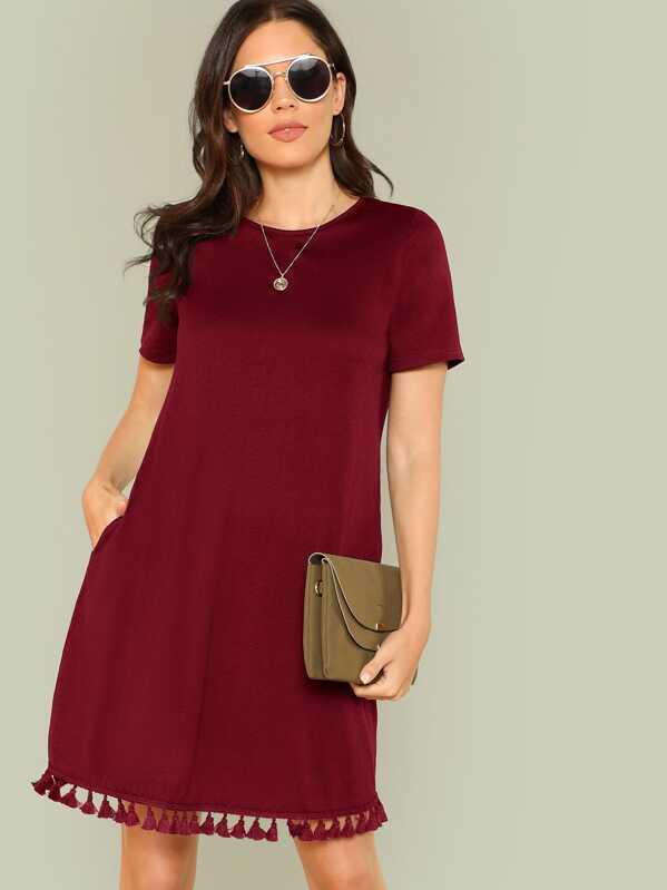 Cheap Tassel Hem Side Pocket Tee Dress for sale Australia  ba02a0dc2e66