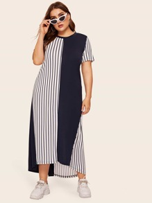 Plus High Low Hem Color-block Striped Dress