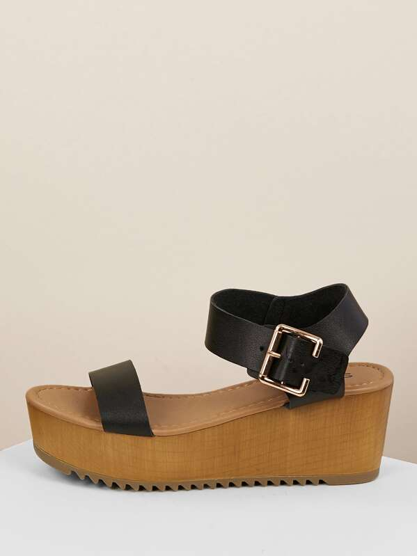 Wedge Strap Single Thick Buckled Black Sandal Ankle Band ebYH2E9IWD
