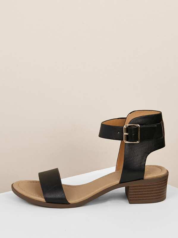 Buckle Ankle Strap Low Block Heels by Sheinside