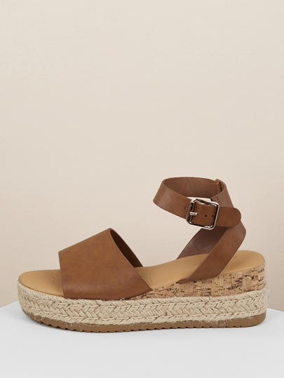 58b9548c30 Single Band Buckled Ankle Jute Low Wedge Sandals
