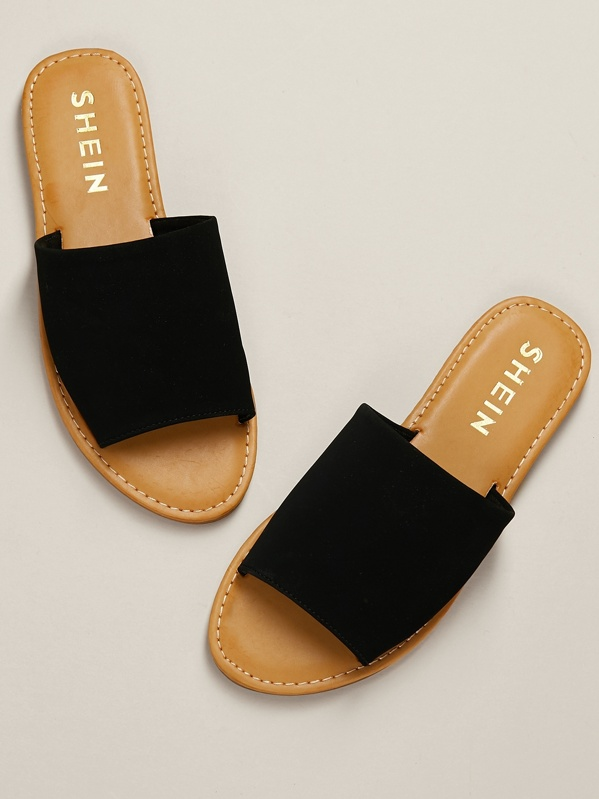 Single Black Nubuck Sandal Band Slide 135JFTlKcu