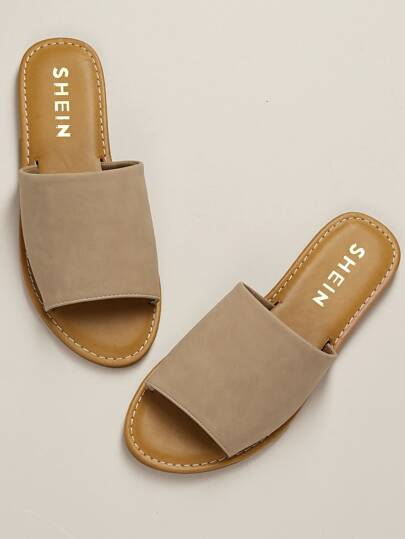 fce0308ec439 Wide Nubuck Single Band Slide Sandal NUDE