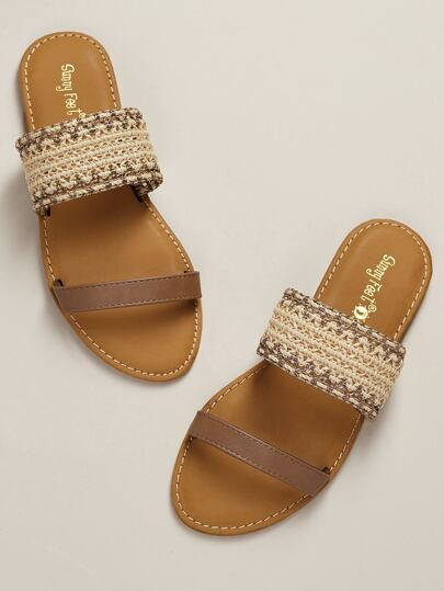 d94bfea0147e Woven Straw Double Band Open Toe Slide Sandals