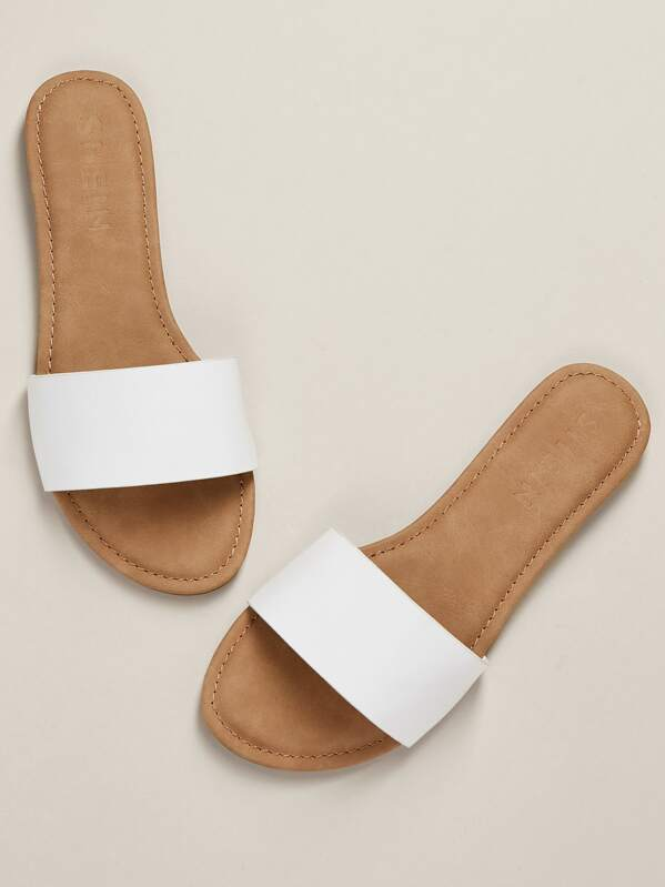 2b1d679b8a5a2 Faux Leather Slip On Sandals WHITE
